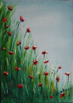 Poppy Field Original Oil Painting 7 x5