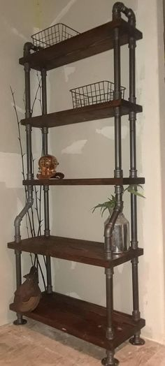 Huge Freestanding Pipe Shelves 6-1/2 ft tall Industrial Style