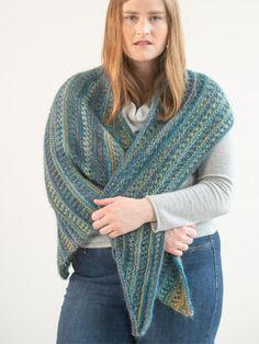 Free Knitting Pattern for a Striped Modern Shawl