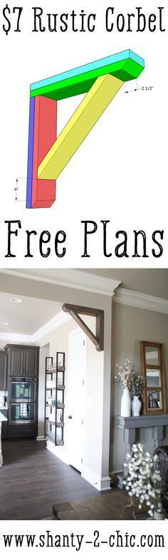 This Rustic Corbel is the perfect piece for any boring opening in your home! It's inexpensive and easy to build. Get the free plans and watch the how-to video at http://www.shanty-2-chic.com