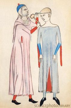 Trepanation, 14th century artwork from Anathomia (1345) by Italian anatomist Guido da Vigevano. This procedure was used to treat headaches, migraines, epilepsy and mental illness. Grim.