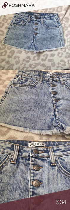 🔥1HR🔥Wildfox high waisted acid wash denim shorts Wildfox high waisted acid wash denim shorts. Super cute and sassy for summer. Never worn without tags Wildfox Shorts Jean Shorts