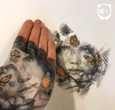 Artist Paints Striking Portraits On The Palm Of His Hand