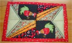 Applique Rooster Breakfast Mat