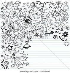 Hand-Drawn Superstar Scribble Inky Doodles- Back to School Notebook Doodle Design Elements on Lined Sketchbook Paper Vector Illustration