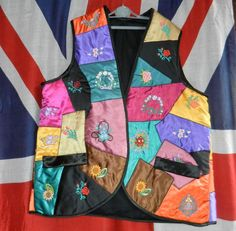 "VINTAGE WAISTCOAT NEW AGE HIPPY FESTIVAL PERFORMER BRIGHT QUILTED 38/40"" #NOBRAND #FESTIVALPARTYTHEATREPRODUCTION"