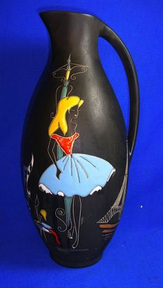 Mid Century 60´s German Ruscha Vase Paris Handi Craft #^