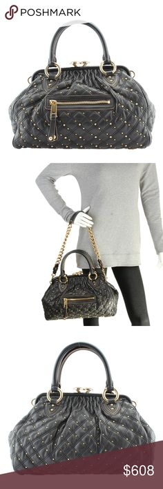 """Marc Jacobs Stam Quilted Shoulder Bag (118153) This Marc Jacobs Stam shoulder bag features: •It shows minor scuffing throughout the exterior •Interior shows minimal wear throughout due to storage •Exterior Condition: New •Interior Condition: New •Material: Leather •Origin: Italy •Interior Lining: Canvas •Hardware: Gold-Tone •Meas (L x W x H): 15x5x8.5 •Strap Drop: 12"""" •Handle Drop: 5"""" •Exterior Pockets: 1 •Interior Pockets: 1 •Weight: 3.49275 lbs •Production Code: FO9 610 Marc Jacobs Bags…"""