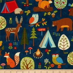 Camp Cozy Animal Camp Out Blue from @fabricdotcom  Designed by Studio 8 for Quilting Treasures, this cotton print fabric is perfect for quilting, apparel and home decor accents. Colors include shades of brown, red, green, orange, yellow, cream, and blue on a medium blue background.