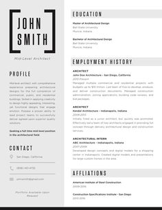The Top Architecture Résumé/CV Designs,Submitted by Claire McNabb