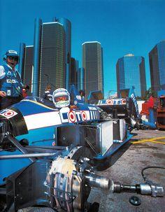 Rene Arnoux, Ligier-Judd, Detroit Grand Prix 1988. Qual 20th - ret, overheating
