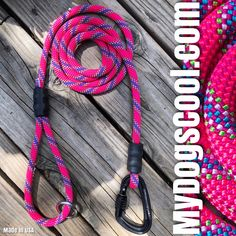 Pink Carabiner Dog Leash made with climbing rope and locking carabiner. Handmade in USA for the Big Dogs. Rope Dog Leash, Climbing Rope, Big Dogs, Usa, Pink, How To Make, Handmade, Rock Climbing Rope, Hand Made