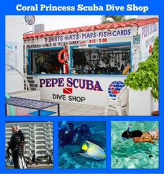 """""""Welcome to Pepe´s Scuba Dive Shop"""" This Dive Shop is inside the Hotel Coral Princess and here you can rent dive gear like snorkel or you can ask for snorkel tours, Full certification of Scuba Diving, Boat diving tour, and much more. Scuba Dive Shop, Diving School, Scuba Diving Courses, Dive Resort, 24 Years Old, Snorkeling, Coral, Tours, Princess"""