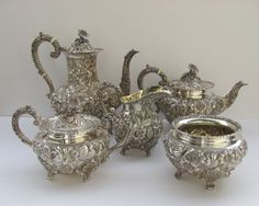 silver service set | Sterling Silver Tea Coffee Set Repousse Baltimore Rose by Schofield ...