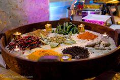 Buffet décor from Indian caterer Monsoon Group. #westingaslampweddings #outdoorweddingsandiego #indianwedding #indianweddingsandiego