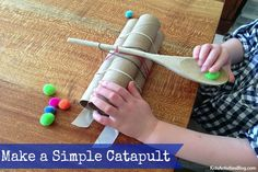 Building a Catapult for Kids {Simple Catapult = Catapult Games} Oh this is a nice simple catapult... much better than the elaborate Lego ones my husband made!
