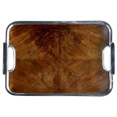 """English Art Deco Burr Walnut Tray  England  Circa 1920  A well-figured and richly patinated English art deco burr walnut and chrome drinks tray; labeled """"Besway Chromo Tray, Made in England"""""""