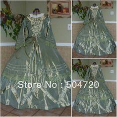 Freeshipping!1800S Green Civil War Southern Belle Ball Gown evening Dress/Victorian dresses/scarlett dress Sz US6-26 V-229
