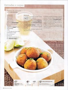 Revista bimby 2011.10 n11 Kitchen Reviews, Breakfast Snacks, Portuguese Recipes, Appetizers For Party, Fish And Seafood, Cheese Recipes, Brunch, Food And Drink, Yummy Food