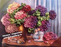 Hydrangeas in a vase #ribbonEmbroidery