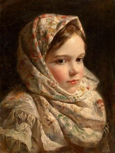 Masterpieces of Russian Painting-Unknown artist - Portrait of a girl in…
