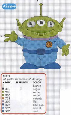toy story alien x-stitch Disney Cross Stitch Patterns, Cross Stitch Kits, Counted Cross Stitch Patterns, Cross Stitch Embroidery, Manualidades Toy Story, Toy Story Coloring Pages, Shrek, Stitch Toy, Stitch Cartoon