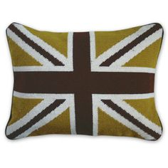 here's another great Union Jack pillow (we're in love with this because it has our logo colors, green & brown!) #JonathanAdler