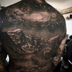 Galaxy & Mountains Back Tattoo