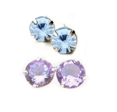 Vintage Swarovski Crystal Alexandrite Blue Violet Color Changing Earrings by BreatheCouture, $22.00