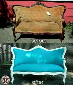 "DIY Furniture Makeover: No one will call this bench ""scary antique furniture"" ever again. What an amazing transformation! Turning old and dingy into new and chic! Refurbished Furniture, Repurposed Furniture, Shabby Chic Furniture, Furniture Makeover, Vintage Furniture, Painted Furniture, Sofa Makeover, Italian Furniture, Painting Fabric Furniture"