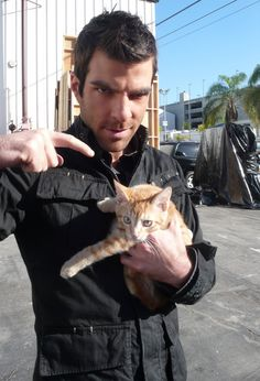 Zachary Quinto (Mr. Spock, most recently) with cat, from Celebrities With Cats