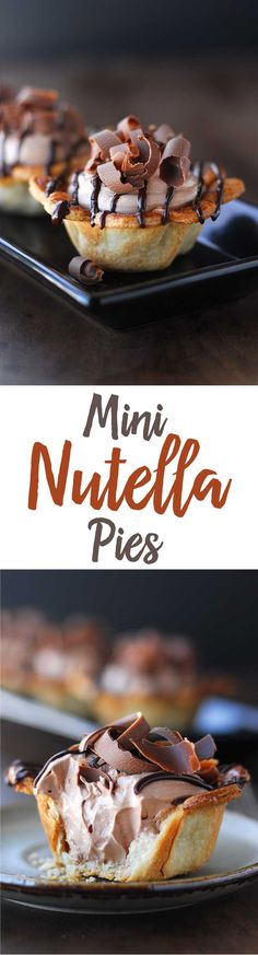 These Mini Nutella Pies are filled with luscious Nutella mousse, drizzled with melted chocolate and topped with pretty chocolate curls. The scalloped edged mini pie crusts add an element of fun.