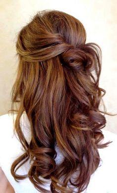 Dreamy Half-n-Half Hairdo with Braid and Curls:
