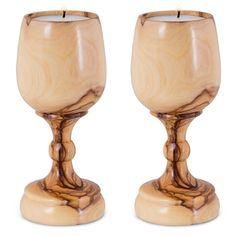 Natural Olive Wood Portable Candlesticks in Wine Glass Design