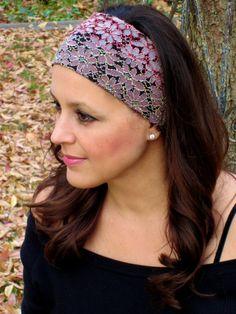 a1dc5fd828af Lace Headband Floral Headband Adult Headband Etsy Headband Wide Headband  Flower Headband Pink Headband Women Headband Stretch Headband