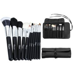 Perfect mix of synthetic and natural brushes.  AmazonSmile : Ovonni® Professional 11-Piece Elegant Natural Goat Hair Makeup Brush Set with Case