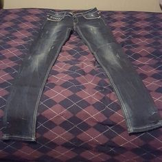 Jeans! Brand new, never worn. Dark wash with distress details and sparkly embellishments. Liuce's Jeans Jeans Straight Leg