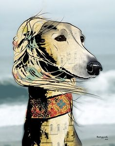 Isabella Saluki Pop Art Print Dog Art by PopDogDesigns on Etsy