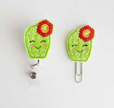 Cactus Felt Paperclip | Badge Reel | ID Badge | Felt Holder | Lanyard | Planner Clip | Planner Accessories | Succulent Feltie | Felt Cactus