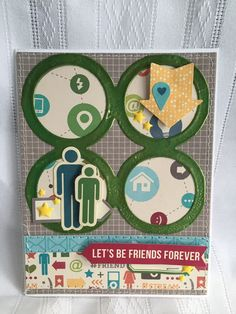 Let's Be Friends Forever - Scrapbook.com - Cut apart Jillibean Placemats to use on cards or other smaller than 12 x 12 projects.