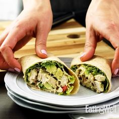 Chicken Club Wraps Whole-wheat tortillas provide a tasty twist in this quick grilled chicken breast recipe that combines all the elements of a classic club sandwich into a wrap. Serve with extra napkins. Healthy Sandwich Recipes, Healthy Sandwiches, Sandwiches For Lunch, Wrap Sandwiches, Healthy Wrap Recipes, Club Sandwich Recipes, Quick Lunch Recipes, Vegetarian Sandwiches, Panini Sandwiches