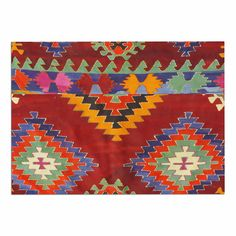 KESS InHouse S Seema Z 'TAPESTRY ETHNIC' Red Pattern Dog Place Mat, 13' x 18' ** Unbelievable dog item right here! : Dog food container