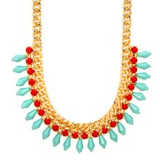 Chain Link,  Coral and Turquoise Shiny Stone Statement Necklace