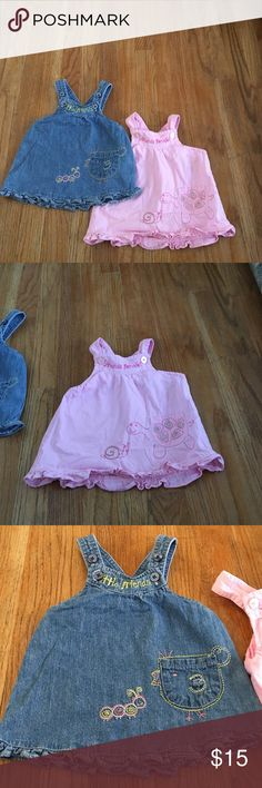 Two friends dresses Pink one has friends forever with a turtle and snail on it. Jean one has a chick and caterpillar on it. 💜 bundle to save even more 📦 Dresses