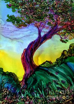 Free Online Class: Alcohol Inks Basics Welcome to this free class. I am testing various methods to present basic online learning for alcohol inks. This is a beta class and I would appreciate any fe… Alcohol Ink Crafts, Alcohol Ink Painting, Alcohol Ink Art, Fine Art Gallery, Painting Gallery, Tree Art, Illustrations, Oeuvre D'art, Painting Inspiration