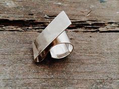 Sterling Silver minimalist handmade adjustable ring por SiverLining