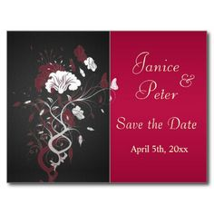 Black red white, floral Save the Date Postcard