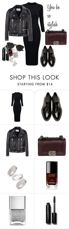 """""""Dark but classy"""" by paulina-krolkiewicz on Polyvore featuring WithChic, Burberry, Acne Studios, Chanel, Topshop, Bobbi Brown Cosmetics, Christian Dior, women's clothing, women and female"""