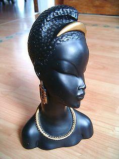 Vintage Retro 1950s era Black Lady's Head Statue Chalkware Bust African Tribal