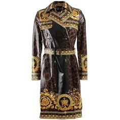 Versace ($2,975) ❤ liked on Polyvore featuring outerwear, coats, jackets, coats & jackets, leopard coat, versace, print trench coat, leopard print coat and leopard trench coat
